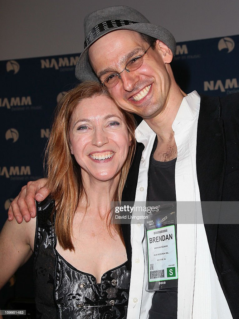 Musicians Valerie Vigoda (L) and Brendan Milburn attend the 2013 NAMM Show - Media Preview Day at the Anaheim Convention Center on January 23, 2013 in Anaheim, California.