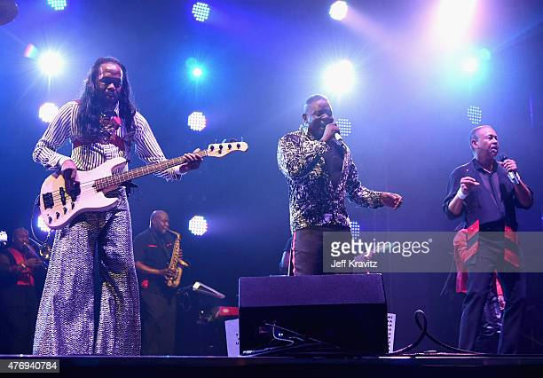 Musicians Verdine White Philip Bailey and Ralph Johnson of Earth Wind Fire perform onstage at Which Stage during Day 2 of the 2015 Bonnaroo Music And...