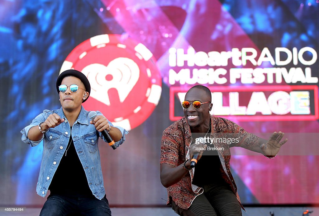 Musicians Vincent Dery and Nicolas Sereba of Nico Vinz perform onstage during the 2014 iHeartRadio Music Festival Village on September 20 2014 in Las...