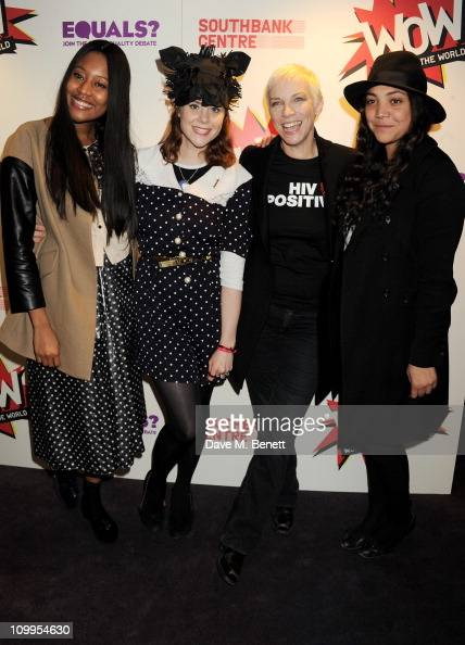 Musicians VV Brown Kate Nash Annie Lennox and TV presenter Miquita Oliver pose in the press room before performing at EQUALS Live a special evening...