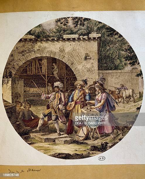 Musicians walking through a village colour engraving Germany 18th century Paris Bibliothèque Des Arts Decoratifs