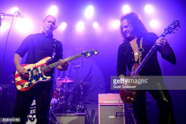 Musicians Wayne Kramer of MC5 and Steve Stevens of the Billy Idol band performs onstage during the second annual Rock for Recovery benefit concert at...