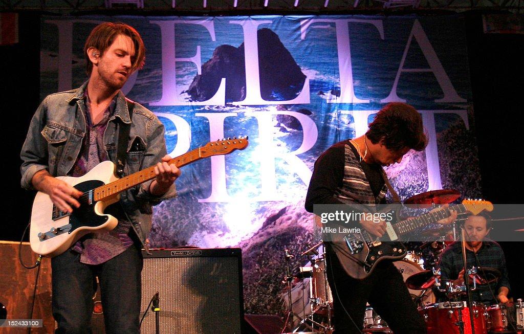 Musicians Will McLaren (L) and Matt Vasquez of Delta Spirit perform at SummerStage at Rumsey Playfield, Central Park on September 20, 2012 in New York City.