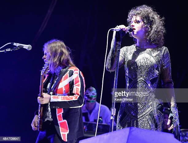 Musicians William Butler and Regine Chassagne of Arcade Fire perform onstage during day 3 of the 2014 Coachella Valley Music Arts Festival at the...