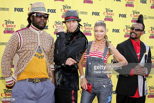 Musicians william Taboo Fergie and apldeap of the band Black Eyed Peas arrive at the 2005 Teen Choice Awards held at Gibson Amphitheatre at Universal...