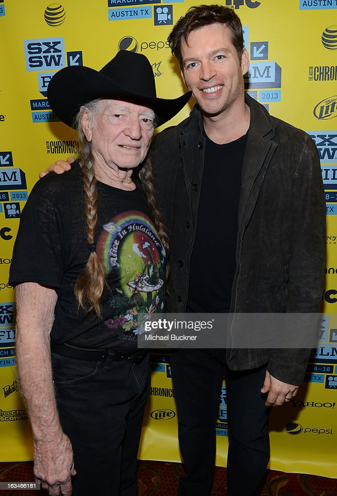 Musicians <a gi-track='captionPersonalityLinkClicked' href=/galleries/search?phrase=Willie+Nelson&family=editorial&specificpeople=203154 ng-click='$event.stopPropagation()'>Willie Nelson</a> (L) and <a gi-track='captionPersonalityLinkClicked' href=/galleries/search?phrase=Harry+Connick+Jr&family=editorial&specificpeople=211285 ng-click='$event.stopPropagation()'>Harry Connick Jr</a>. attend the screening of 'When Angels Sing' during the 2013 Music, Film + Interactive Festival at the Paramount Theatre on March 10, 2013 in Austin, Texas.