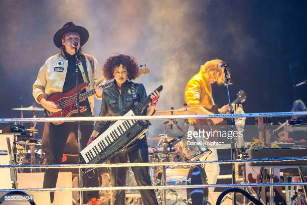 Musicians Win Butler and Regine Chassagne of Arcade Fire perform on stage at Viejas Arena on October 18 2017 in San Diego California