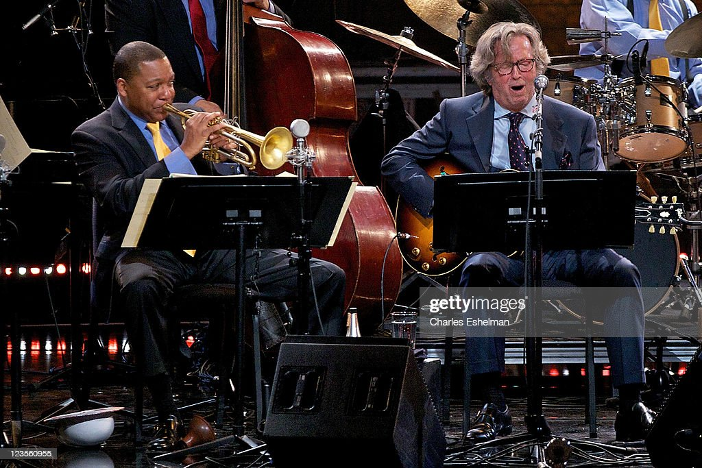 Musicians Wynton Marsalis And Eric Clapton perform at Jazz at Lincoln Center on April 8 2011 in New York City