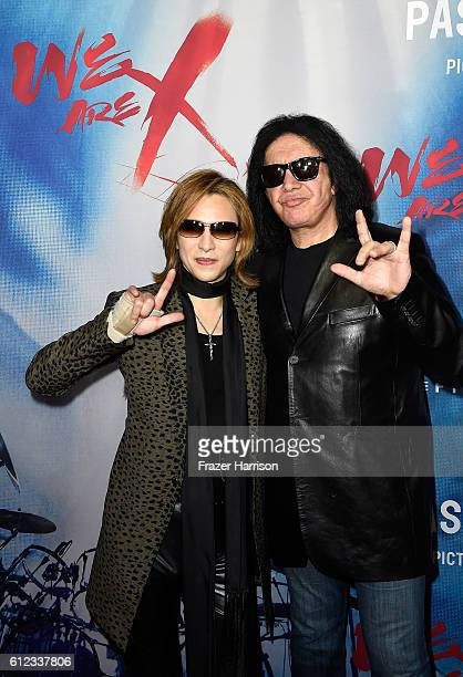 Musicians Yoshiki and Gene Simmons attend the premiere of Drafthouse Films' 'We Are X' at TCL Chinese Theatre on October 3 2016 in Hollywood...