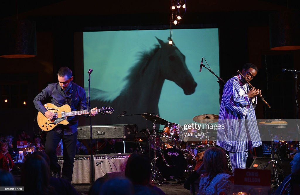 Musicians Yotam Silberstein and Will Calhoun perform during An Artist At The Table, a benefit for the Sundance Institute during the 2013 Sundance Film Festival at The Shop on January 17, 2013 in Park City, Utah.