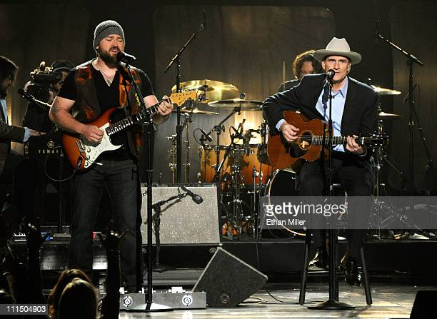 Musicians Zac Brown and James Taylor perform onstage at the 46th Annual Academy of Country Music Awards held at the MGM Grand Garden Arena on April 3...