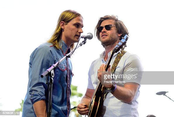 Musicians Zach Chance and Jonathan Clay of Jamestown Revival perform onstage during 2016 Stagecoach California's Country Music Festival at Empire...
