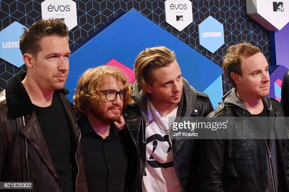 Musicians Zach Filkins Drew Brown Ryan Tedder and Eddie Fisher of One Republic attend the MTV Europe Music Awards 2016 on November 6 2016 in...