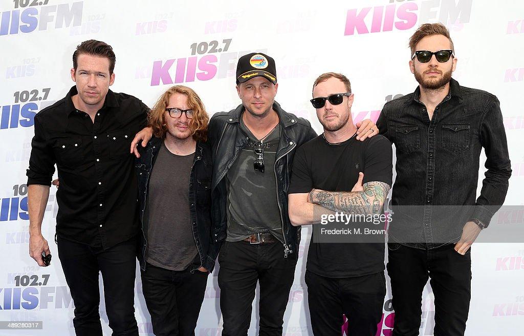 Musicians Zach Filkins, Drew Brown, Ryan Tedder, Eddie Fisher and Brent Kutzle of OneRepublic attend 102.7 KIIS FM's 2014 Wango Tango at StubHub Center on May 10, 2014 in Los Angeles, California.