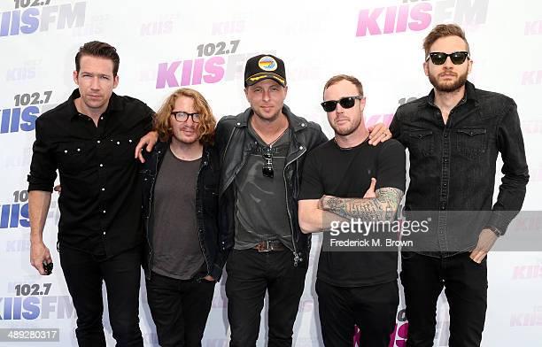 Musicians Zach Filkins Drew Brown Ryan Tedder Eddie Fisher and Brent Kutzle of OneRepublic attend 1027 KIIS FM's 2014 Wango Tango at StubHub Center...