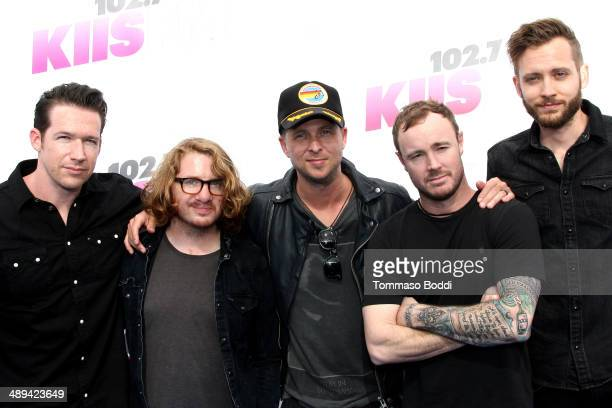 Musicians Zach Filkins Drew Brown Ryan Tedder Eddie Fisher and Brent Kutzle of OneRepublic attend the 1027 KIIS FM's 2014 Wango Tango held at the...