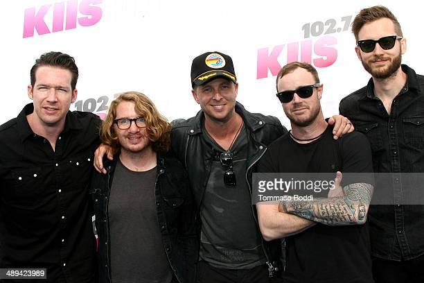 Musicians Zach Filkins Drew Brown Ryan Tedder Eddie Fisher and Brent Kutzle of OneRepublic attend the 1027 KIIS FM's 2014 Wango Tango held at the...