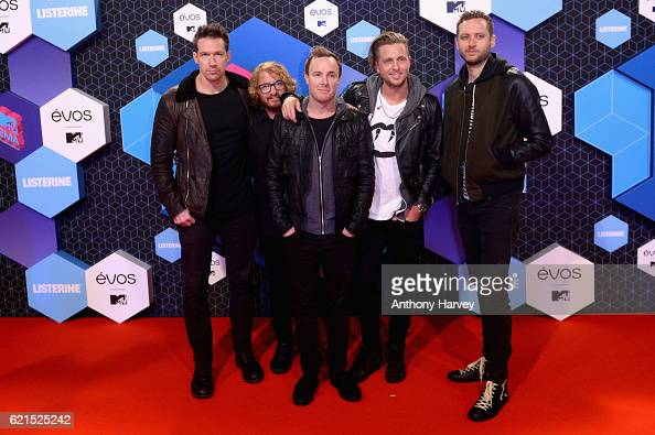 Musicians Zach Filkins Drew Brown Ryan Tedder Eddie Fisher and Brent Kutzle of One Republic attend the MTV Europe Music Awards 2016 on November 6...