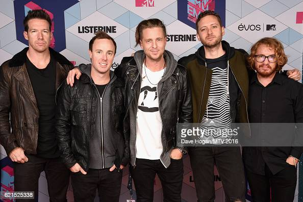 Musicians Zach Filkins Eddie Fisher Ryan Tedder Brent Kutzle and Drew Brown of One Republic attend the MTV Europe Music Awards 2016 on November 6...