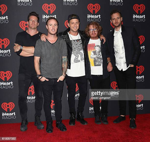 Musicians Zach Filkins Eddie Fisher Ryan Tedder Drew Brown and Brent Kutzle of OneRepublic attend the 2016 iHeartRadio Music Festival Night 1 at...