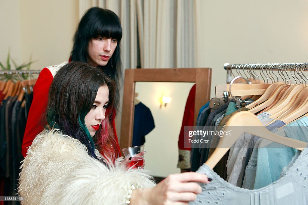 Musicians Zachary James and Alexandra Lee shop at the Johnny Was Holiday Gifting Suite at Chateau Marmont on December 13, 2012 in Los Angeles, California.