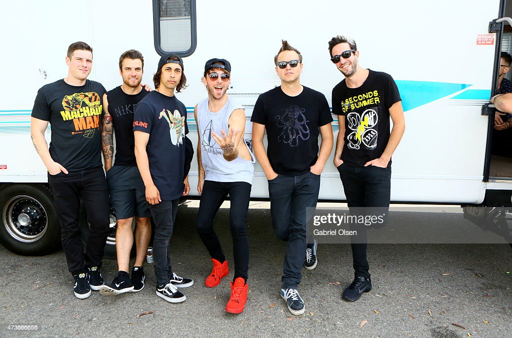 Musicians Zack Merrick and Rian Dawson of All Time Low Victor Vincent 'Vic' Fuentes of Pierce the Veil Alex Gaskarth of All Time Low Mark Hoppus of...