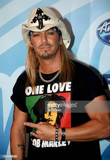Musician/singer Bret Michaels poses in press room during the American Idol Finale 2010 at Nokia Theatre LA Live on May 26 2010 in Los Angeles...