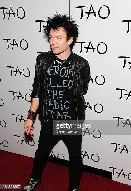 Musician/singer Deryck Whibley from the band 'Sum 41' arrives to celebrate his birthday at Tao Nightclub at the Venetian on April 7 2011 in Las Vegas...