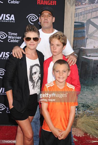 Musician/singer Natalie Maines Adrian Pasdar and children arrive at 'The Lone Ranger' World Premiere at Disney's California Adventure on June 22 2013...