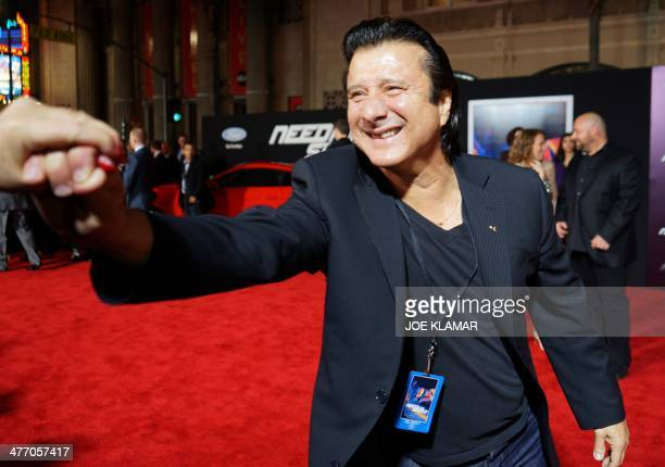 Musician/Singer Steve Perry arrives at the premiere of DreamWorks Pictures' 'Need For Speed' at TCL Chinese Theatre on March 6 2014 in Hollywood...