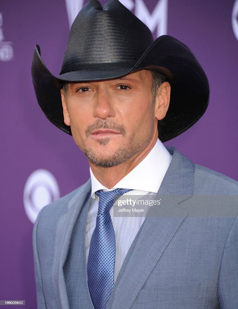 Musician/Singer Tim McGraw arrives at the 48th Annual Academy of Country Music Awards at MGM Grand Garden Arena on April 7, 2013 in Las Vegas, Nevada.