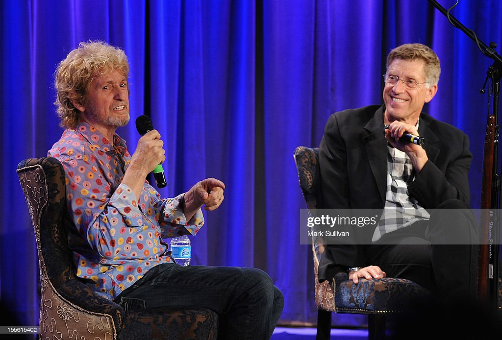 Musician/songwriter Jon Anderson (L) and GRAMMY Museum executive director Bob Santelli onstage during An Evening With Jon Anderson at The GRAMMY Museum on November 5, 2012 in Los Angeles, California.