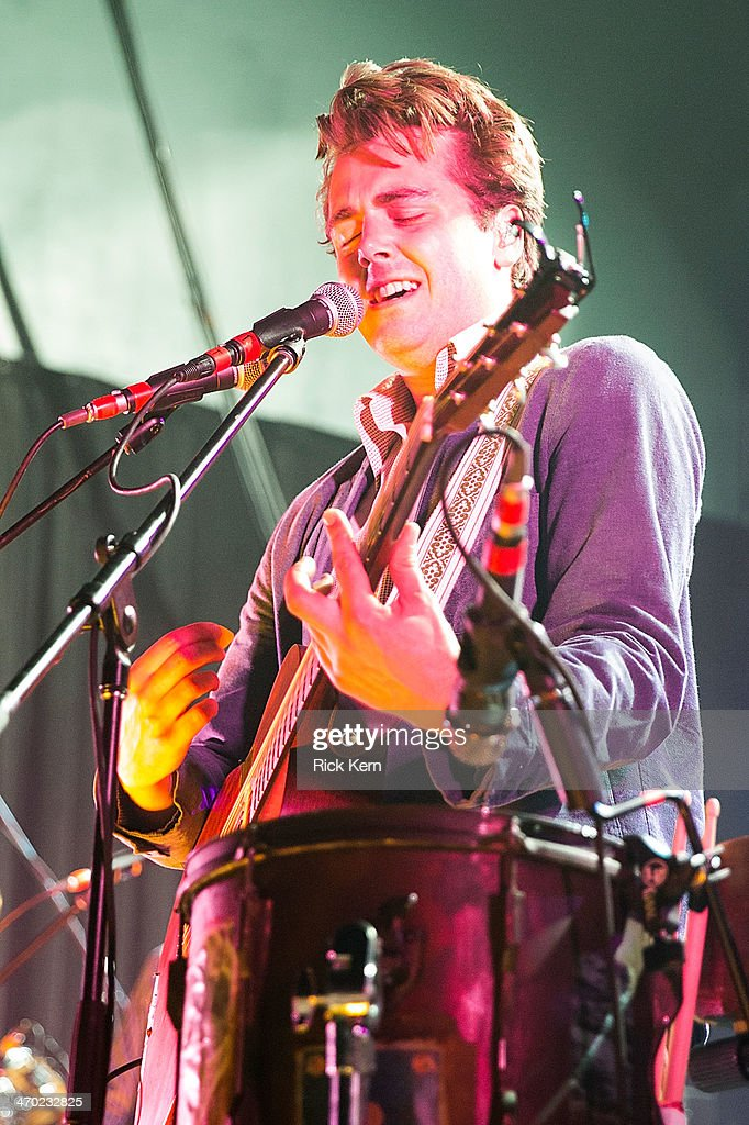 Musician/vocalist Ben Schneider of Lord Huron performs in concert at Emo's on February 18 2014 in Austin Texas
