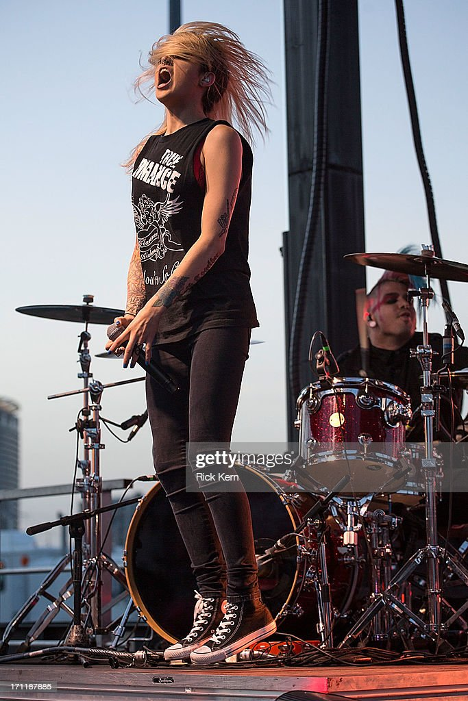 Musician/vocalist Carah Faye Charnow of Shiny Toy Guns performs in concert during the Keep Austin Weird Festival at The Long Center on June 22, 2013 in Austin, Texas.