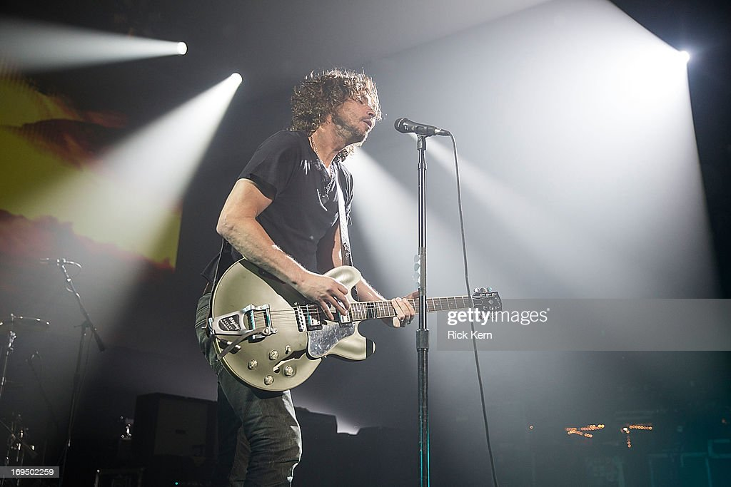 Musician/vocalist <a gi-track='captionPersonalityLinkClicked' href=/galleries/search?phrase=Chris+Cornell&family=editorial&specificpeople=221615 ng-click='$event.stopPropagation()'>Chris Cornell</a> of Soundgarden performs in concert at Austin Music Hall on May 25, 2013 in Austin, Texas.