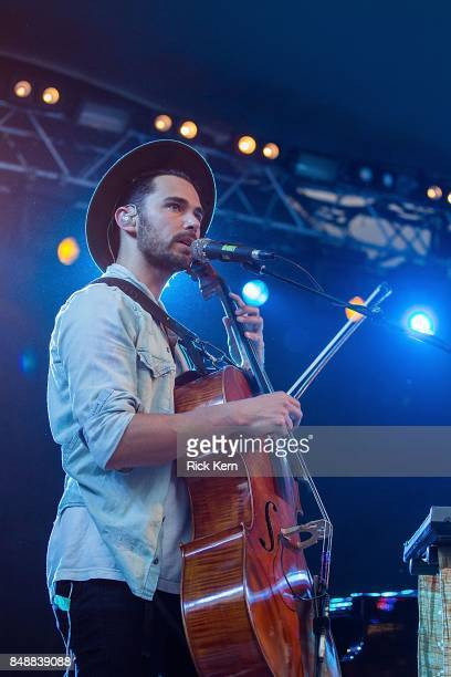 Musician/vocalist Paul Wright of Tall Heights performs in concert during the 'Paper Airplane Request Tour' at Stubb's BarBQ on September 17 2017 in...