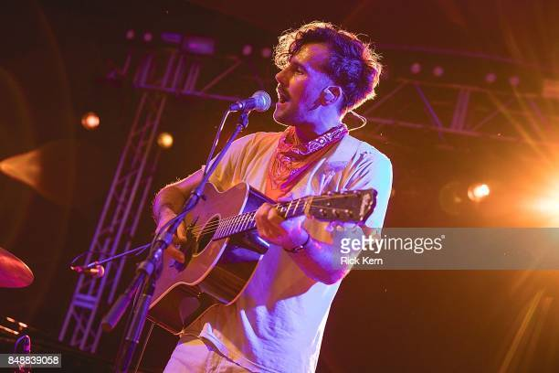 Musician/vocalist Tim Harrington of Tall Heights performs in concert during the 'Paper Airplane Request Tour' at Stubb's BarBQ on September 17 2017...