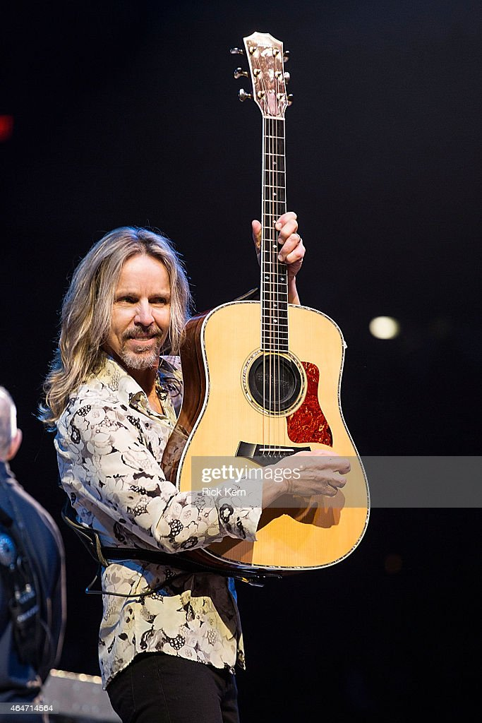 Musician/vocalist Tommy Shaw of Styx performs in concert as part of the San Antonio Stock Show Rodeo at the ATT Center on February 27 2015 in San...