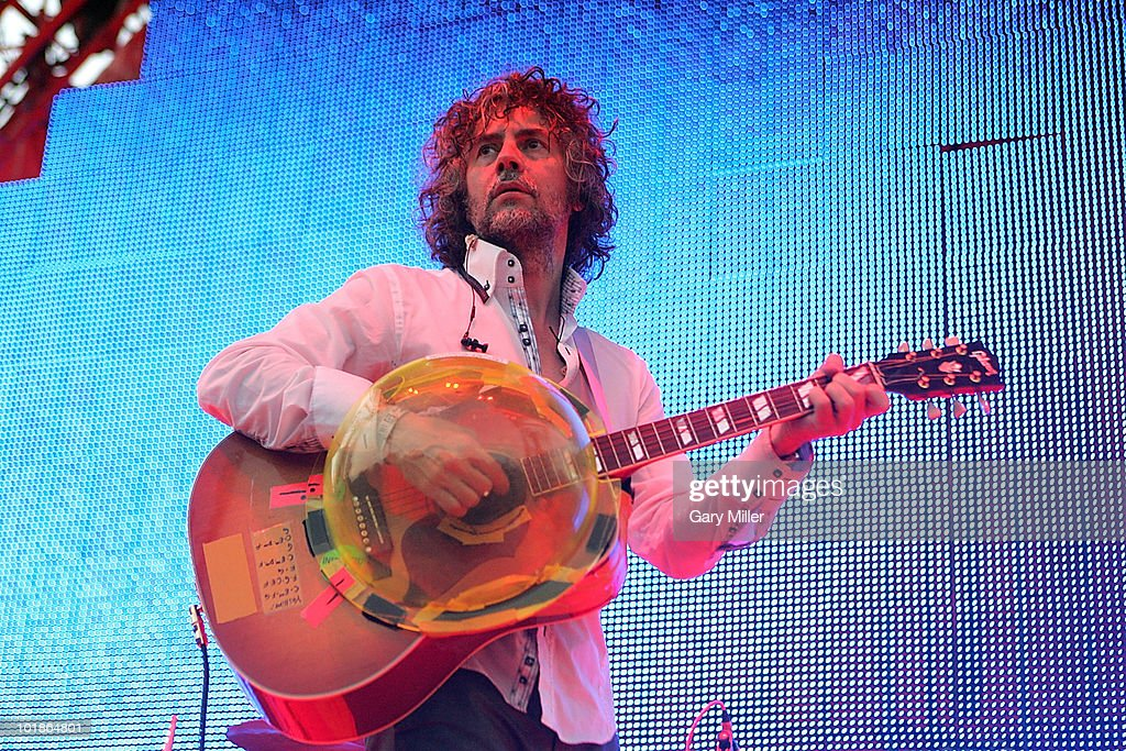 Musician/vocalist Wayne Coyne performs in concert with the Flaming Lips during the Free Press Summerfest at Eleanor Tinsley Park on June 6, 2010 in Houston, Texas.