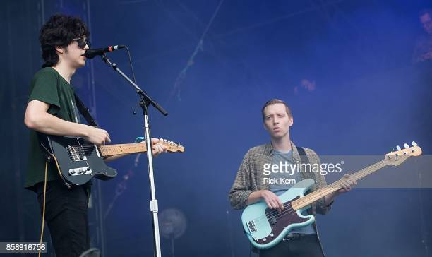 Musician/vocalist Will Toledo and Seth Dalby of Car Seat Headrest perform onstage during weekend one day two of Austin City Limits Music Festival at...