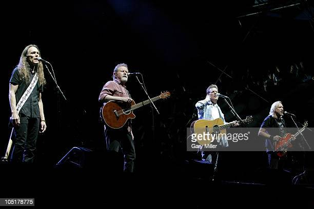 Musician/vocalists Timothy B Schmit Don Henley Glenn Frey and Joe Walsh of The Eagles perform in concert during day 3 of the Austin City Limits Music...