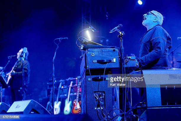 MusicianWalter Becker and Donald Fagen of Steely Dan perform onstage during day 1 of the 2015 Coachella Valley Music And Arts Festival at The Empire...