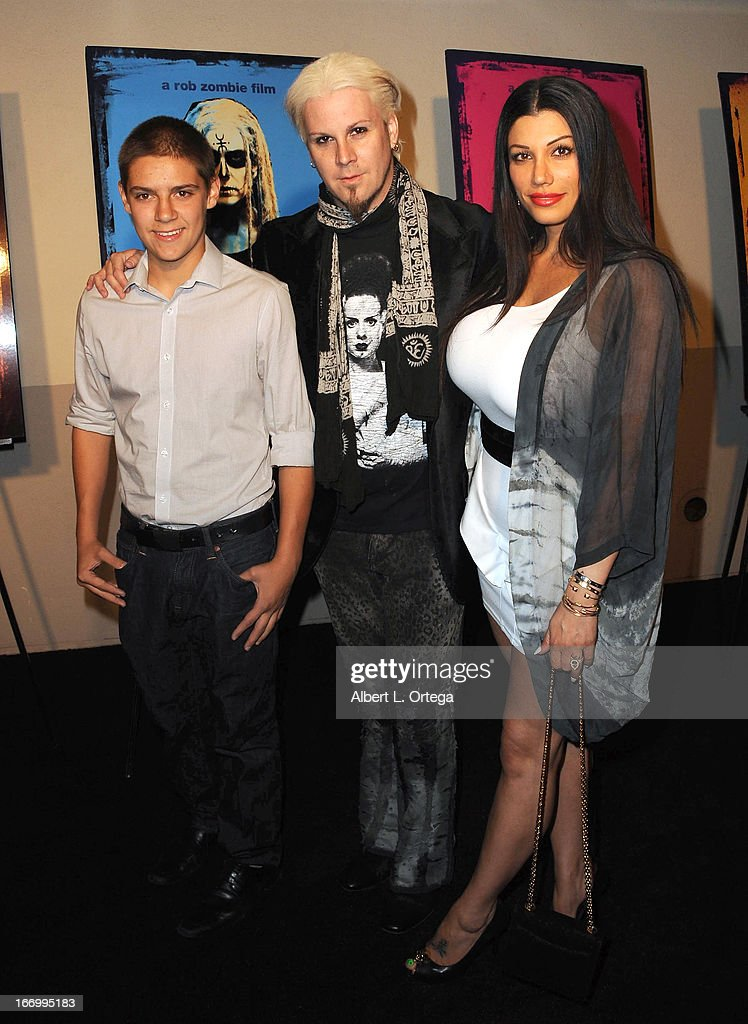 Musiciian John5 and wife and son Jeremy arrive for Fan Screening Of Anchor Bay Films' Rob Zombie's 'The Lords Of Salem' - Arrivalsheld at AMC Burbank 16 on April 18, 2013 in Burbank, California.