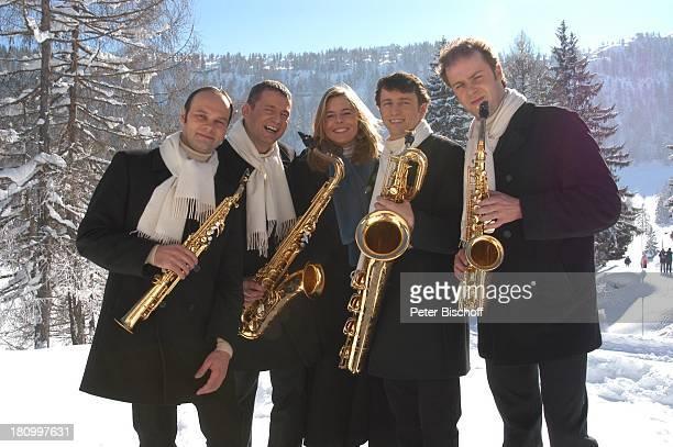 Musikgruppe 'Saxofourte' Thomas Sälzle Martin Traub Verena Deckert Managerin Ralf Richter Dieter Kraus ZDFShow 'Das Sonntagskonzert' in Reit in Winkl...