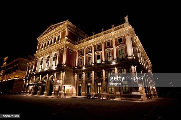 Musikverein concert hall at night Vienna Austria