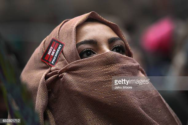 Muslim American marches during the Women's March on January 21 2017 in New York City The Midtown Manhattan event was one of many protests nationwide...