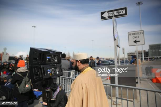 Muslim Americans perform Friday Prayer at JFK Airport as a protest against President Donald J Trump's executive order banning entry of 7...