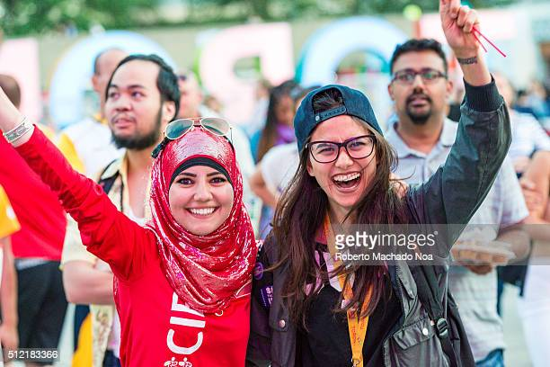 SQUARE TORONTO ONTARIO CANADA Muslim and non muslim women togetherMulticultural people inhabitants or Torontonians enjoying the Panamania during the...