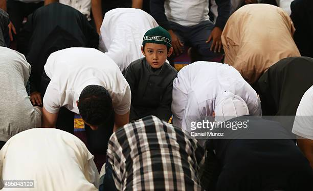 A muslim boy attends the noon prayer during an open day at Lakemba Mosque on October 31 2015 in Sydney Australia Mosques held open days across the...
