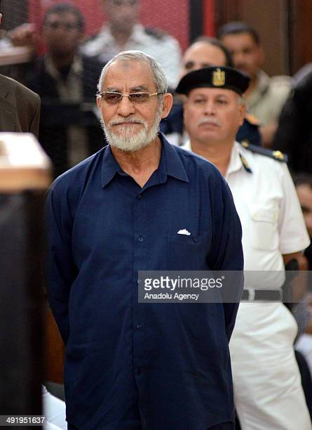 Muslim Brotherhood Supreme Guide Mohamed Badie is seen outside the defendant's cage for the first time during the trial of Brotherhood members at a...